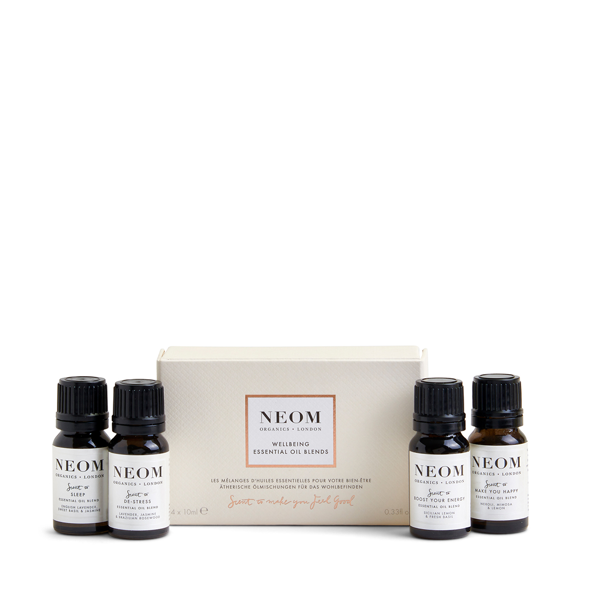 Wellbeing Essential Oil Blends from Neom Organics, home fragrance from Beautiful Brands